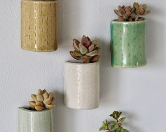 Clay Magnet, Succulent Magnet, Ceramic Pot Magnet, Magnetic Ceramic Air Plant Planter, Refrigerator Magnet, Indoor Planter, Air Plant Holder