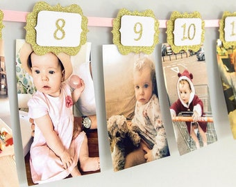 First Birthday 12 Month Photo Banner. Happy Birthday Garland. Baby Pink & Gold Glitter 1st Birthday. Handmade Party Decoration. Girl or Boy