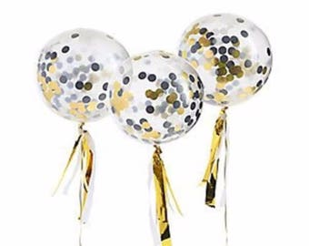 Gold Confetti Party Balloons Kit. Wedding Party Balloons.Gold Confetti Balloon. Party supplies. Party Decorations. Gold Wedding Decorations.