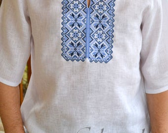 Linen embroidered shirt, Ukrainian Embroidered Shirt, Ukrainian vyshyvanka