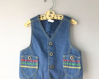 Retro Vintage Denim Vest with Red, Yellow, and Green Stripes on Pockets Size: 3t Boys Girls - OSVKCxxx
