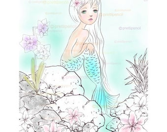 Mermaids coloring page, mermaids coloring, printable adult coloring pages, digistamp, line art, fantasy art, big eyed art, digital stamps