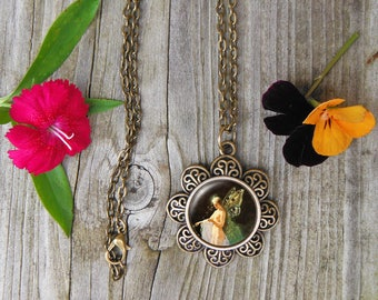 Titania Painting Necklace,  Fairy Glass Dome Pendant Necklace