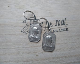 French Antique Virgin Mary Our Lady catholic earrings in sterling silver - OAK - saint Marie Mary