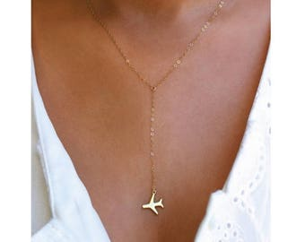 ON SALE Airplane Gold or Silver Lariat Necklace, Travel Inspired Jewelry, Airplane Necklace, Pilot Necklace, World Traveler, Wanderlust Jewe