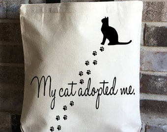 Cat Rescue Large Tote - Cat Adoption Canvas Tote Bag - Cat Lover Gift - Crazy Cat Lady - Cat Tote Bag Canvas - Pet Adoption - Animal Rescue