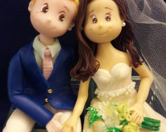 Wedding Cake Topper Personalized, mr and mrs cake topper, clay figurine , bride and grom cake topper