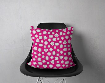 Diamond Pillow, Pink Pillow, Decorative Pillows, Throw Pillow Cover, Trendy Pillow, Accent Pillow, Jewel Pillow, Gem Pillow, Modern Pillow
