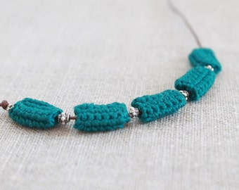 """SALE -15%   Marine-Blue Necklace with Crocheted """"Cushions"""" and Silver Beads"""