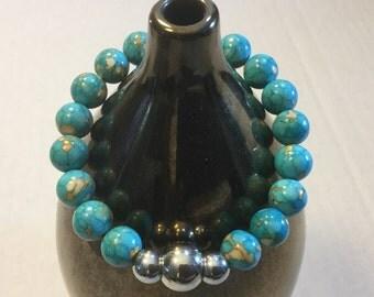 BEADED HEALING  Bracelet  :  Made With Turquoise and Hematite Gemstones