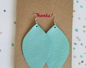 "Handmade Leather Earrings - Mint Green - 3"" x 1.75"""