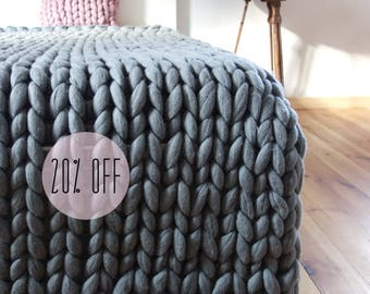 giant knit blanket etsy. Black Bedroom Furniture Sets. Home Design Ideas