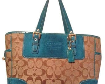 COACH Signature Collection Gallery Khaki w/ Teal Accents Handbag