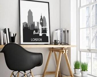 London Silhouette poster, London print, Silhouette poster, London gift, London skyline, instant download art