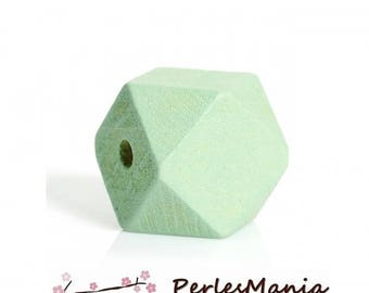Polygons S1177307 20mm PASTEL green wooden beads