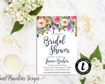 Bridal Shower Invitation / Printable Bridal Shower Invite/ Floral Bridal Shower Invitation /Watercolor Floral /EDITABLE Wedding Invitation