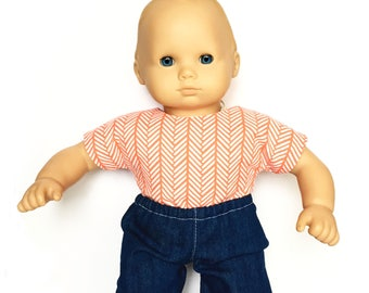 Denim Jogger Pants, Dark Blue Denim, White, Fits dolls such as American Girl, Bitty Baby, 15 inch Doll Clothes