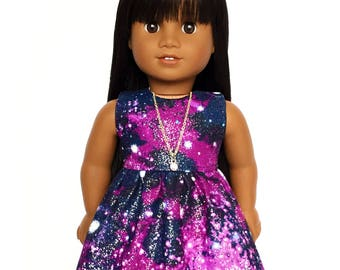Sleeveless Dress, Outer Space, Universe, Galaxy, Glitter, Purple, Blue, Fits dolls such as American Girl, 18 inch Doll Clothes, GOTY
