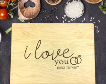 Personalized Cutting Board, Engraved Cutting Board, Custom Cutting Board, Wedding Gift, Wedding Proposal, Gift for Him, Gift for Her, B-0103