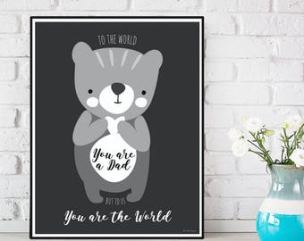 Father's birthday, Father's gift, Father's poster, Gift for my Dad, Love poster, Love quote, Poster quote, Wall decor,  Baby bear poster