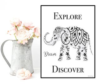 Elephant poster, Quote wall art, Inspirational quote, Quote poster, Inspirational poster, Home wall decor, Inspirational art, Quote print