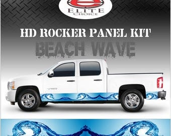 """Beach Wave Rocker Panel Graphic Decal Wrap Truck SUV - 12"""" x 24FT"""