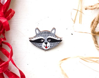 Wooden brooch, Raccoon brooch,  Raccoon pin, Wooden pin, Raccoon wooden brooch,  Raccoon wooden pin, pin, brooch, For him, For her, gift