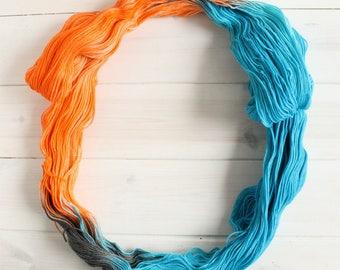 Portal themed hand dyed yarn -  superwash merino sock yarn- fingering weight sock yarn