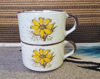 Japanese floral vintage mugs set of 2