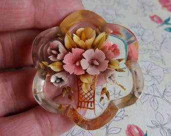 Vintage 1950s Reverse Carved Lucite Brooch - Floral Bouquet in Vase Design - Clear Plastic Pin