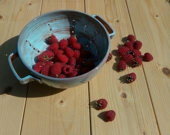 Berry bowl, Bowl strainer handmade berries lead-free ceramics
