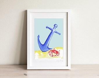 Anchor Art, Kids Boat Art, Kids Beach Art, Nautical Nursery, Nautical Kids Print, Kids Gift, Kids Art, Kids Prints, Framed