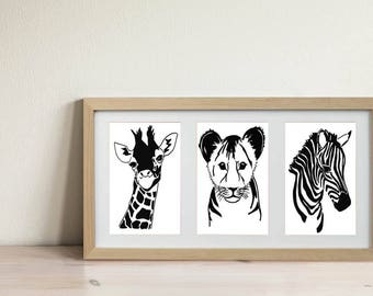 Jungle Nursery Art, Giraffe Print, Lion Print, Zebra Print, Safari Nursery, Safari Animal Print, Kids Art, Kids Print, Kids Gift, Framed