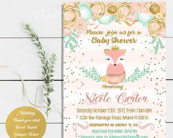 Digital file or Printed-Fox Baby Shower Girl Invitation-Floral Fox Invite-Printable Pink Fox Baby Shower Invitation-Stripes-Free Shipping