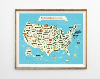 Kids Us Map 8 X 10 In 11 X 14 In 20 X