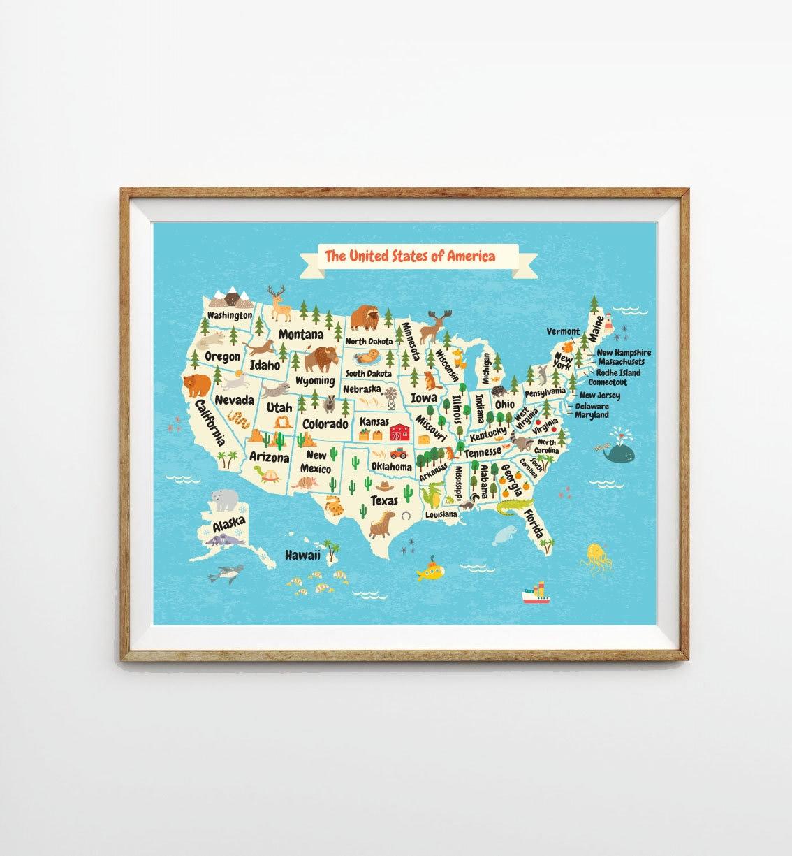 Kids US Map X In X In X In USA Map - Map ot the us