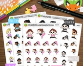 Yoga Kawaii Girls - Fitness Yogi Workout Exercise Sticker Set - Planner Stickers (K0074)