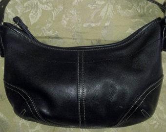 Vintage Coach Black Leather Baguette bag...Serial No. H3S-9541