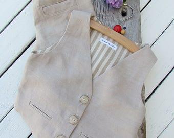 Linen Boys Suit - Toddler Linen Suit - Wedding Outfit Boys - Baptism Outfit Boys - Page Boy Outfit - Ring Bearer Outfit - Beige Brown Grey