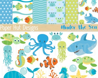 Sea Animal Clipart and Digital Paper Set-Under the Sea Clipart and Papers-Nursery-Shark-Turtle-Clown & Jelly Fish-Seahorse-BUY2GET1MOREFREE