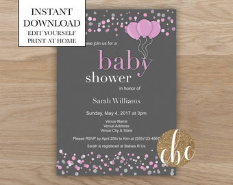 DIY Printable Baby Shower Invite - Pink/Editable/Digital Download