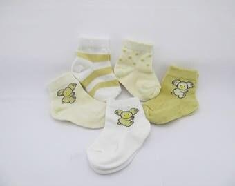 Organic Baby Socks Set of 5 piece, Koala baby socks, unisex baby socks, toddler sock set (0-6, 6-12, 12-24 month)