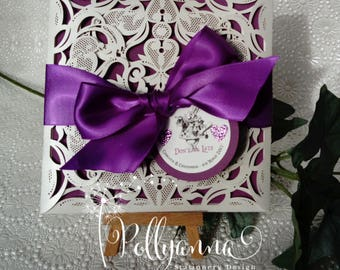 Superbe Alice In Wonderland Inspired Sample Laser Cut Bespoke Personalised Wedding  Invitation