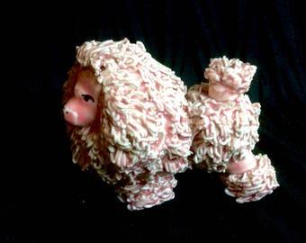 Vintage Pink Spaghetti Porcelain Poodle Figurine Circa 1950s Japan