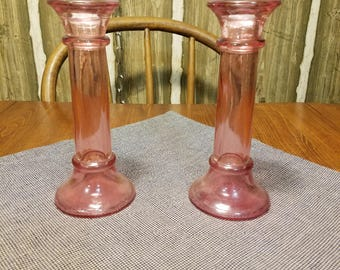 Vintage Pair of Pink Hollow Candlesticks or Bud Vases