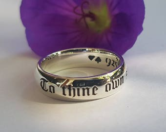 To Thine Own Self Be True, Shakespeare Ring, Shakespeare quote, Hamlet Quote, Book Jewelry, Be True to Yourself, Handmade