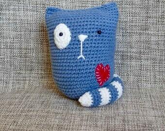 Crochet amigurumi Love Cat with Heart small cat Valentine cat Valentines Day decor