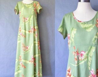 vintage silk dress/ maxi dress/ floral dress/ tropical dress/ market dress/ tommy Bahama women's size S/M
