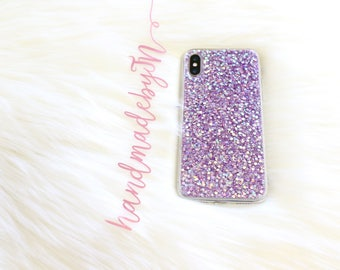 Purple Glitter Phone case iPhone 7 case iPhone 7 Plus case iPhone 6S case iPhone 6S Plus case iPhone 8 case iPhone 8 Plus case iPhone X case