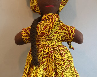 African Doll - Rag Doll Large - Christmas Present - African Toys - Multicultural Doll - Handmade Toy - Cultural Toys - African Baby Doll
